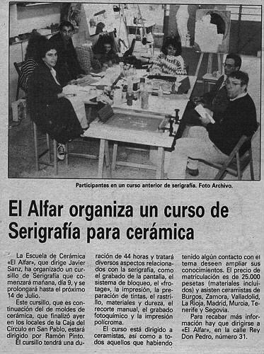 CURSO DE SERIGRAFÍA PARA CERÁMICA