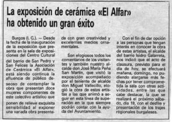 EXPOSICIÓN DE CERÁMICA EL ALFAR: UN EXITO