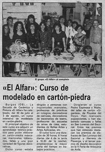 CURSO DE MODELADO EN CARTÓN PIEDRA