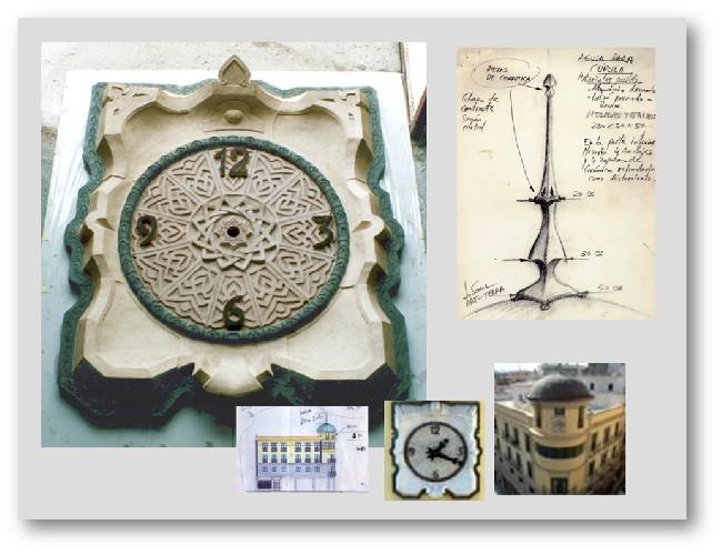 ALGECIRAS Reloj de gres con un baño de porcelana en blanco y verde vejiga. Realizado para un edificio del casco histórico de Algeciras en frente de la Junta de Andalucía. (Edificio Rocha). Medidas: 1,50x1,30x0,25 m.