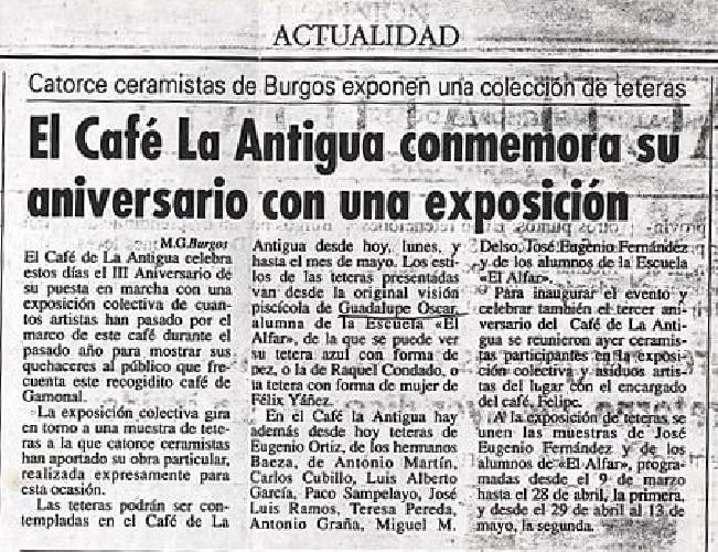 """EXPOSICIÓN EN EL CAFE """"LA ANTIGUA"""" El Café La Antigua conmemora su aniversario con una exposición"""