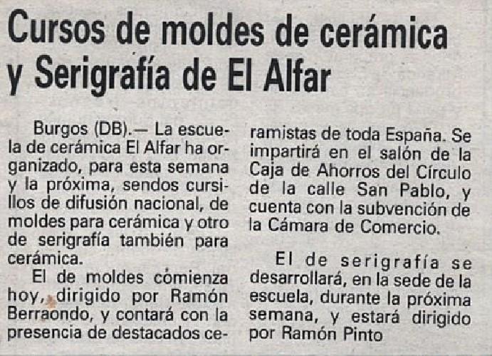 CURSOS DE MOLDES DE CERÁMICA Y SERIGRAFÍA