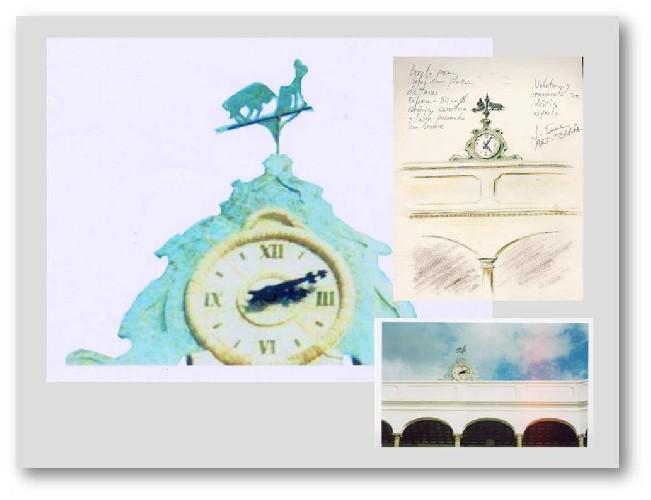 SAN ROQUE MALAGA Reloj realizado en la Plaza de toros de San Roque (Málaga), en cerámica con inclusiones y veleta en bronce representando una escena taurina. Tamaño: 1,75x1,40x0,4 m.