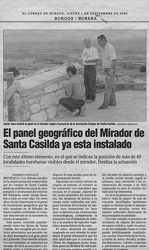 PANEL GEOGRÁFICO DEL MIRADOR DE SANTA CASILDA