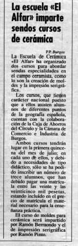 CURSOS DE CERÁMICA EN EL ALFAR