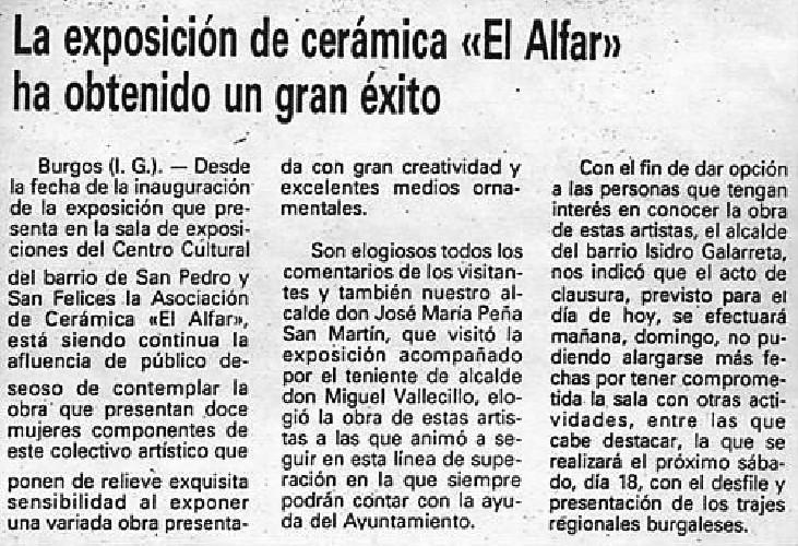 EXPOSICIÍON DE CERÁMICA EL ALFAR La exposición de cerámica El Alfar ha obtenido un gran éxito ha obtenido un gran éxito