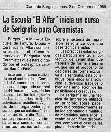 CURSO DE SERIGRAFÍA PARA CERAMISTAS